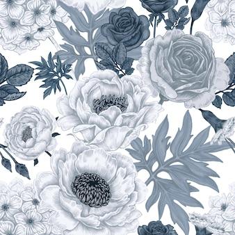 Wzór z kwiatów róż, piwonie, hortensje, goździki.