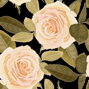 Wzór z kwiatów róż.