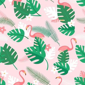 Wzór z kwiatów tropikalnych roślin i różowych flamingów letnie tło z zieloną palmą