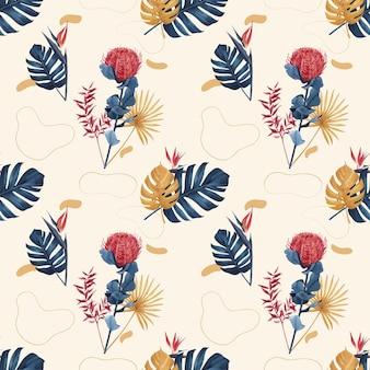 Wzór z kwiatową akwarelą pampasów