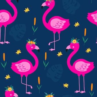 Wzór z kwiatowym różowym flamingiem tło wektor kreskówka z flamingo