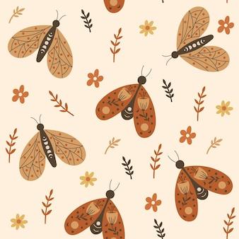 Wzór z kwiatowymi elementami i motylami. ilustracja wektorowa.