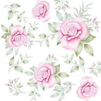 Wzór z kwiatowymi liśćmi akwarela