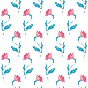 Wzór z ładny płaski kwiat. ręcznie rysowane ilustracji wektorowych na białym tle. tekstury do druku, tkaniny, tkaniny, tapety.
