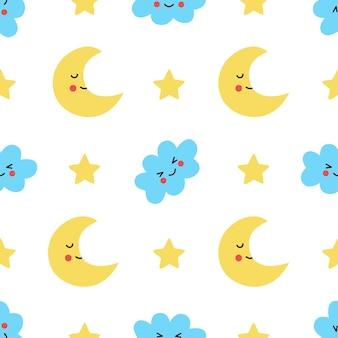 Wzór z ładny półksiężyc i chmury kawaii