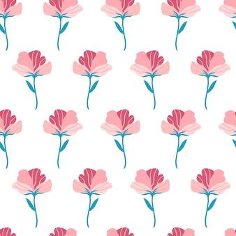 Wzór z ładny różowy kwiat płaski. ręcznie rysowane ilustracji wektorowych na białym tle. tekstury do druku, tkaniny, tkaniny, tapety.