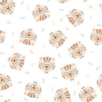 Wzór z ładny tygrys w okularach i muszka. tło z dzikimi zwierzętami w stylu płaski. ilustracja dla dzieci. projektowanie tapet, tkanin, tekstyliów, papieru do pakowania. wektor