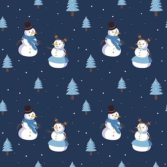 Wzór z ładny uśmiechający się bałwanki i choinki. wesołych świąt nadruk, dekoracje sylwestrowe. zimowe i świąteczne tło