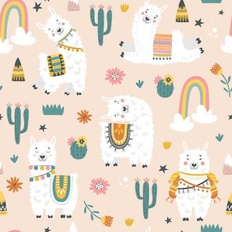 Wzór z lamy, kaktusów, tęczy i ręcznie rysowane elementy.