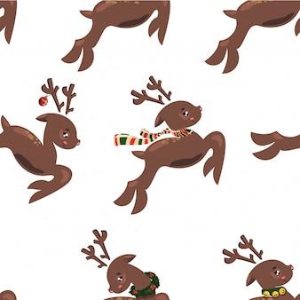 Wzór z latających jeleni. tapety z biegnącym jeleniem. nadruki na tekstyliach ze świętym mikołajem.