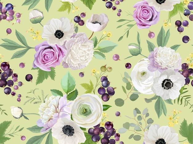 Wzór z letnich jagód owoce pozostawia kwiaty w tle