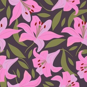 Wzór z liliami i liśćmi.