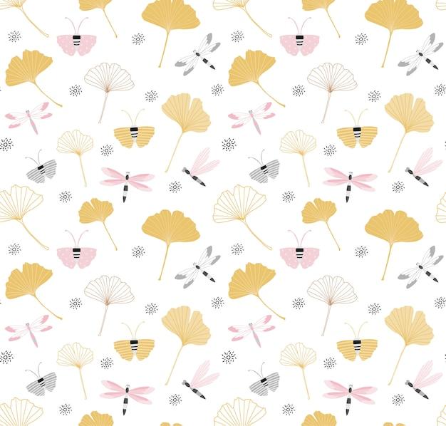 Wzór z liści miłorzębu japońskiego