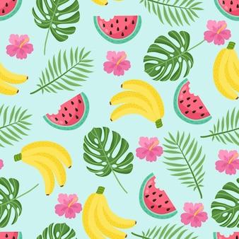 Wzór z liści tropikalnych palm i bananów. ilustracja wektorowa.
