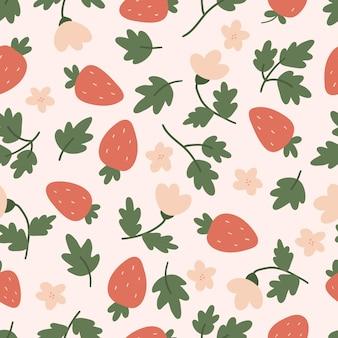 Wzór z liści truskawek i kwiatów