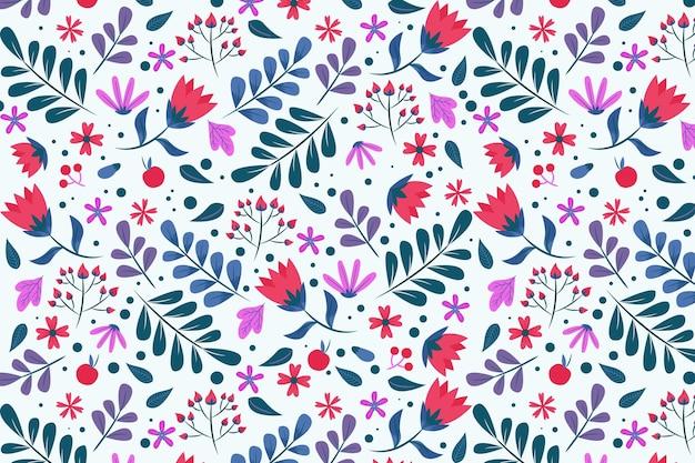 Wzór z liśćmi i kwiatami