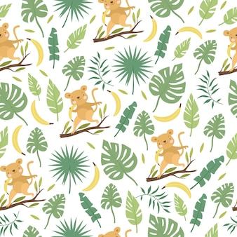 Wzór z liśćmi małp i palm