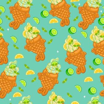 Wzór z lodami tayaki z limonki i cytryny. grafika wektorowa.