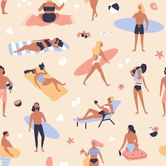 Wzór z ludźmi leżącymi na plaży i opalanie się, czytanie książek, surferów niosących deski surfingowe.