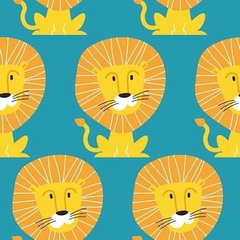 Wzór z lwy żeglarza na białym tle na niebieskim tle. tło zwierzęce dla tkaniny lub tapety.