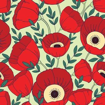 Wzór z makami. tle kwiatów