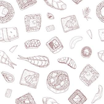 Wzór z maki i nigiri sushi i rolki ręcznie rysowane z konturami na białym tle. tło z japońskim jedzeniem na lunch lub kolację. ilustracja wektorowa realistyczne monochromatyczne.