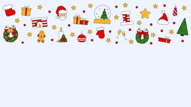 Wzór z miejscem na tekst z symbolami świąt bożego narodzenia i szczęśliwego nowego roku. w tradycyjnym stylu vintage na pocztówkę, tkaninę, baner, szablon gratulacji, papier do pakowania. wektor płaski.