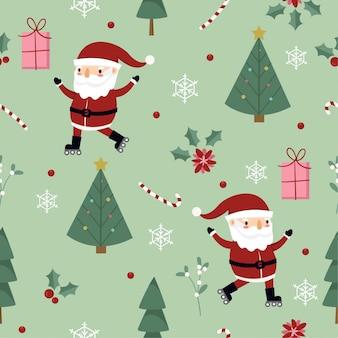 Wzór z mikołajem, prezentem i drzewem