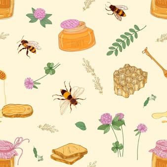 Wzór z miodem, pszczołami, plastrem miodu, lipą, akacją, koniczyną, słoikiem i czerpakiem na jasnym tle.