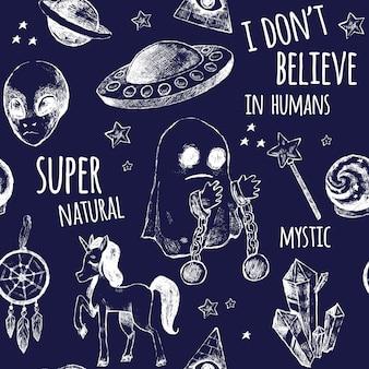 Wzór z mistycznymi motywami.