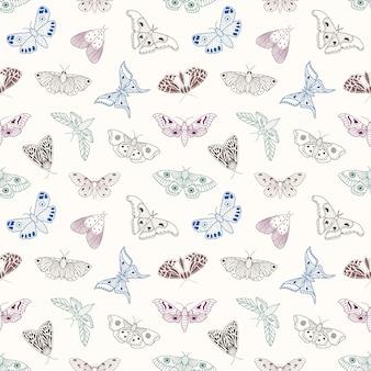 Wzór z motylami i ćmami