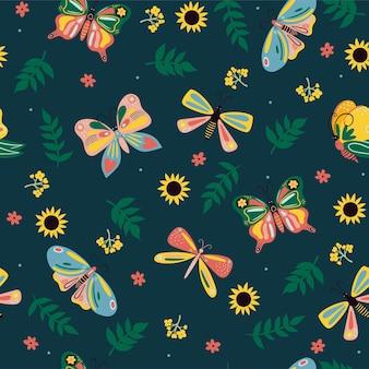 Wzór z motylami i kwiatami. grafika wektorowa.