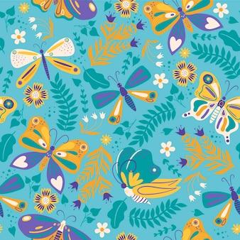 Wzór z motylami i kwiatami.