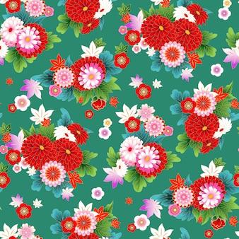 Wzór z motywem kwiatowym w stylu azjatyckim do projektowania tkanin wiosennych