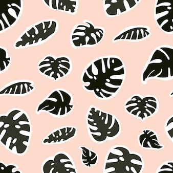 Wzór z naklejkami z tropikalnym zielonym liściem monstera