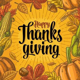 Wzór z napisem happy thanksgiving i kukurydzą pomidorową z dyni grawerowanie vintage