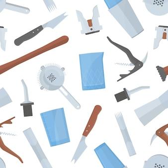 Wzór z narzędziami barmana.
