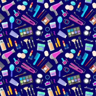 Wzór z narzędziami do makijażu