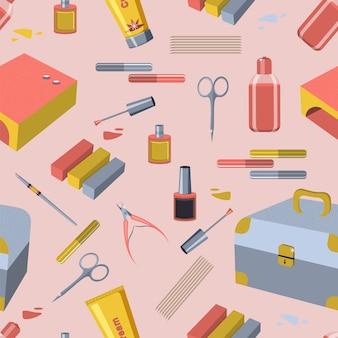 Wzór z narzędziami do manicure.