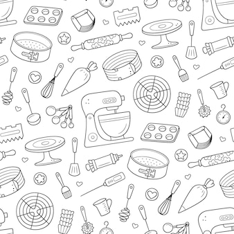 Wzór z narzędziami do robienia ciast, ciasteczek i ciastek