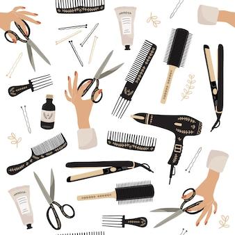 Wzór z narzędziami kosmetycznymi.