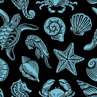 Wzór z niebieskim życiem morskim na vintage design.