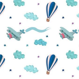 Wzór z niebieskimi balonami, samolotem, gwiazdami i chmurami. ręcznie rysowane ilustracji wektorowych. wzór na tapety, tekstylia dla dzieci, karty, artykuły papiernicze, opakowania.