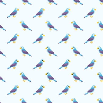Wzór z niebieskimi papugami