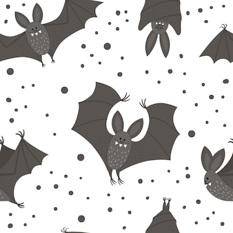 Wzór z nietoperzami wektor ładny. papier cyfrowy z postaciami halloween. śmieszne jesień wszystkich świętych tło z latające i śpiące czarne zwierzęta dla dzieci.