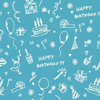 Wzór z obiektami wakacyjnymi ładny wydruk urodzinowy ręcznie rysowane urodzinowy wzór bez szwu