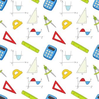 Wzór z obiektów matematycznych. kolorowe tło wektor doodle