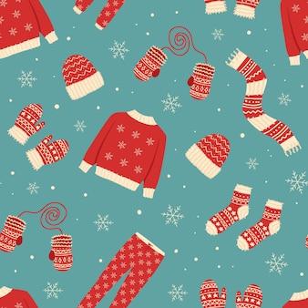 Wzór z odzieżą zimową
