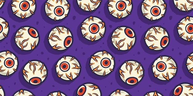 Wzór z okropnymi oczami na halloweenowe wakacje