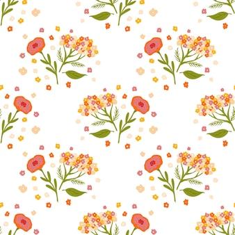 Wzór z ornamentem botanicznych kwiatów krwawnika na białym tle.